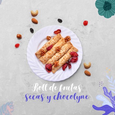receta Roll de frutas secas y chocolyne